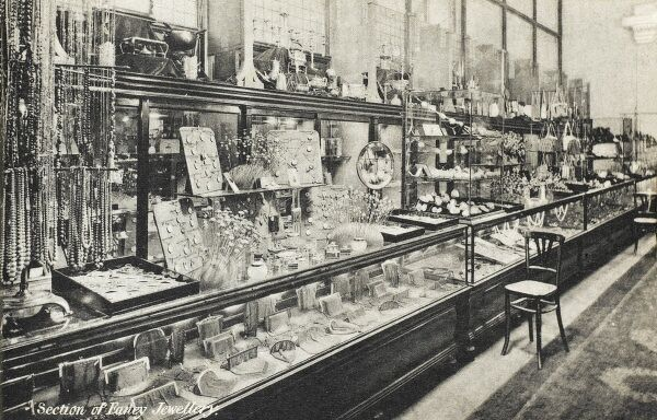 Selfridges & Co, Oxford Street, London - Section of Fancy Jewellery. Founded by American-born retail magnate Harry Gordon Selfridge (1858 - 1947), the Flagship store in Oxford Street was opened in 1909. Selfridge was an innovator in the fields of marketing