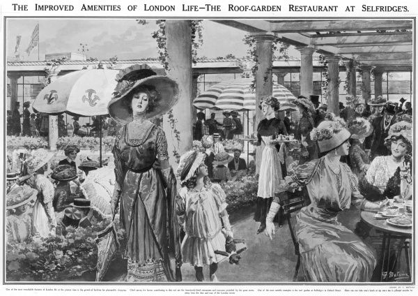Illustration showing the diners at Selfridges department store's roof garden restaurant, London, 1910