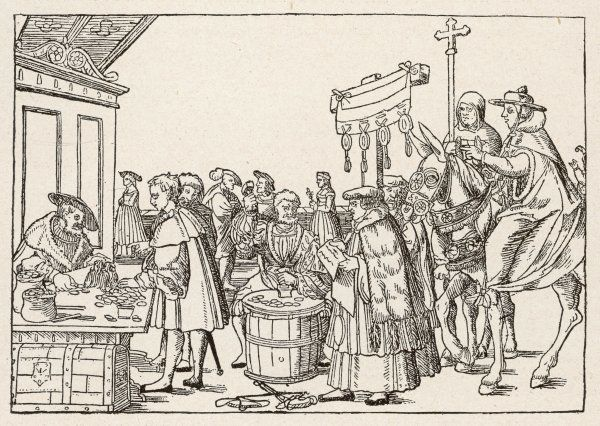The sale of indulgences by Catholic clergy in a German market-place