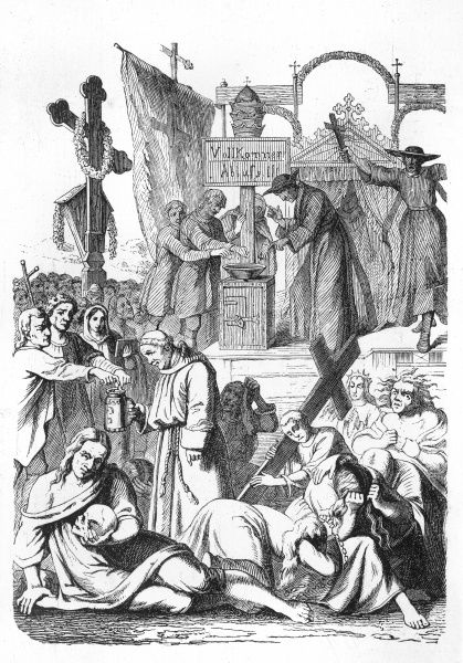 Jesuits sell indulgences to the people of Lucerne, Switzerland - the populace give the Church money in return for spending a shorter period in Purgatory... Date: 15th century