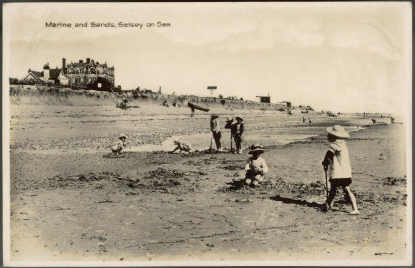 Selsey-on-Sea, Sussex: children on the beach