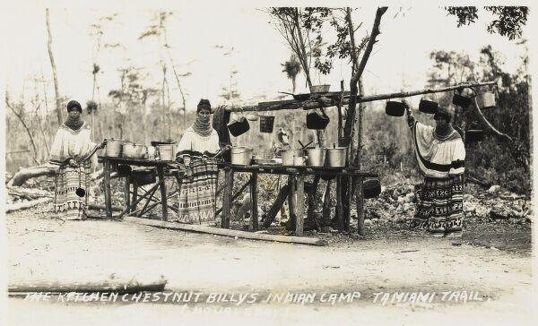 The Everglades, Florida, USA. Seminole Indians on the Tamiami Trail. The Kitchen of Chesnut Billy's Indian Camp. The Tamiami Trail was opened in 1928