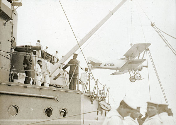 Hoisting 'Gloster Sparrowhawk' from Battleship Turret
