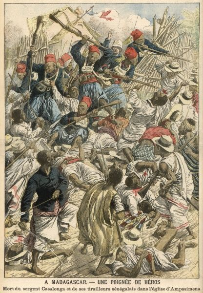 French native soldiers defeat rebel natives at Ampasimena