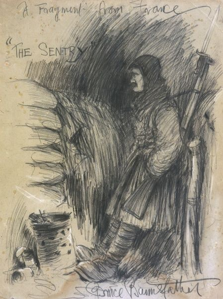 "Original pencil sketch by the famous World War I cartoonist, Bruce Bairnsfather, creator of ""Old Bill"", showing a British soldier standing sentry in a trench. He stands next to a brazier, around which several discarded food tins lie"