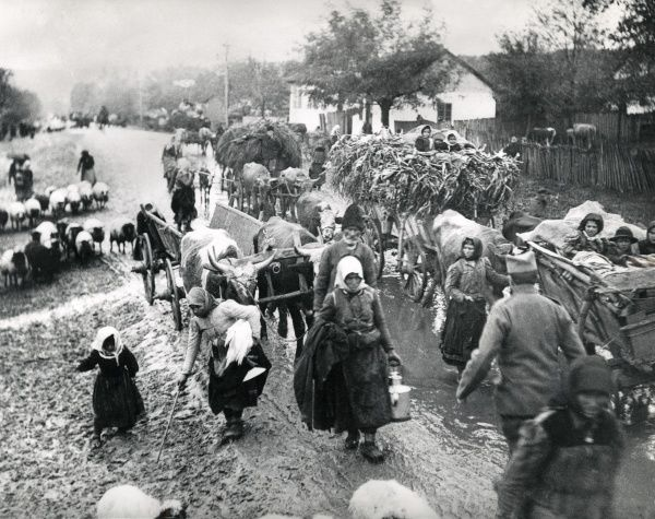Serbian refugees during the retreat, in Macedonia during the First World War. Date: 1915