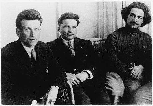 Sergey Mironovich Kirov (1886-1934), Russian Revolutionary leader (centre), with fellow-Bolshevik, Fedor Raskolnikov (1892-1939) (left) and the Georgian Bolshevik, Grigoriy Konstantinovich (Sergo) Ordzhonikidze (1886-1937) (right)