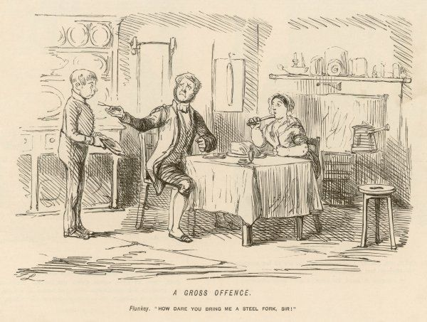 Servants at table - a manservant, dining with the cook, reprimands the page for bringing him a steel fork (as opposed to silver)