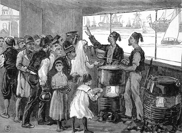 Engraving showing the doling out of food, by Egyptian men in fezes, to a group of Egyptian and European refugees on board the 'North Britain', 1882