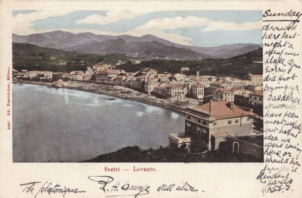 Sestri Levante - a town and comune in Liguria, Italy. Lying on the north western Italian Mediterranean Sea coast. Date: 1903