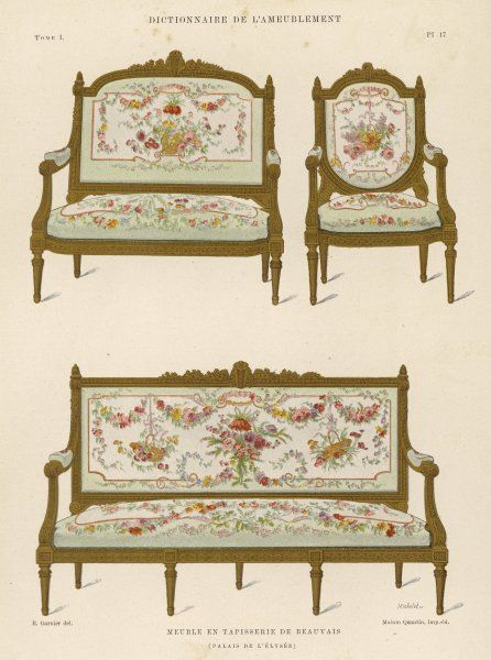French settees and matching chair upholstered in tapisserie (tapestry) de Beauvais