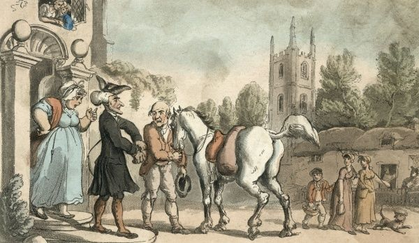 A tourist sets out to visit the country on horseback. Dr Syntax proposes to visit the Lake District, then as now a favourite tourist destination. Date: 1812