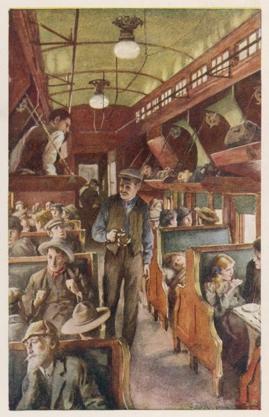 The interior of a Canadian Pacific Railway coach, filled with settlers travelling west