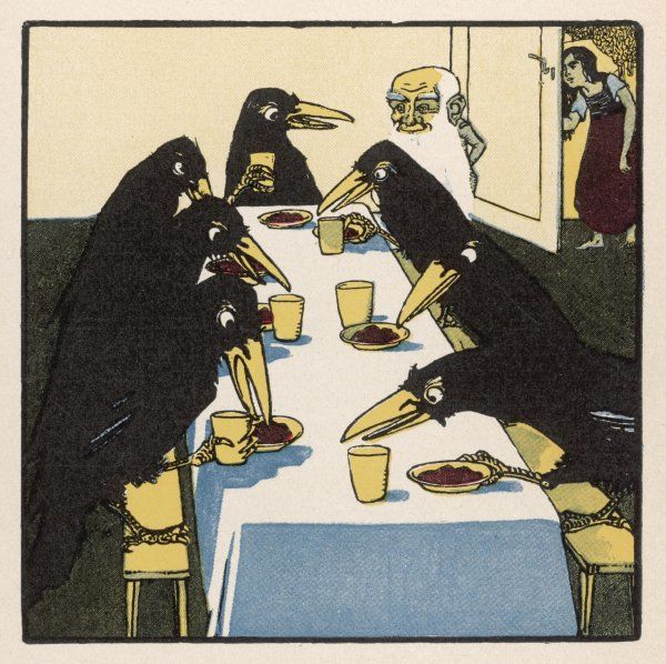 The seven ravens at the dinner table