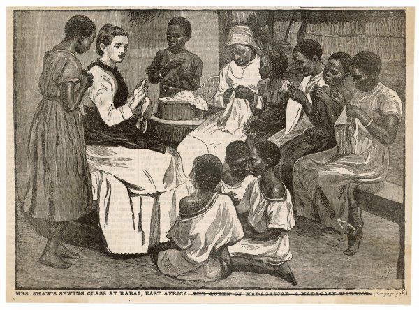 Benevolent colonialism - Mrs Shaw's sewing class at Rabai, East Africa