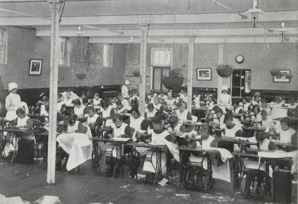 Sewing class at the Darenth Training Colony near Dartford in Kent. The colony, for adult 'mental defectives', was set up by the Metropolitan Asylums Board in 1904 as an addition to the existing Darenth Schools site