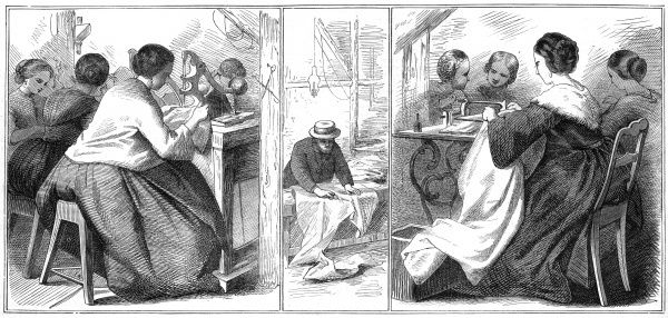 Clothes produced on sewing machines. Date: 1863