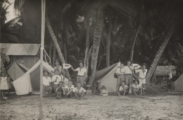 Each Patrol is standing with its tent. The 3rd Patrol is on the right, outside of this picture. August Camp, Seychelles Scouts