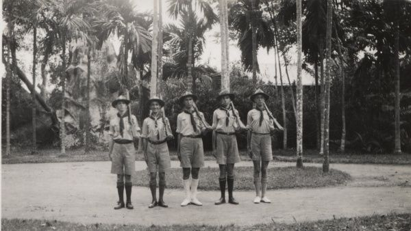 Scouts at rifle drill.  circa 1920s-30s