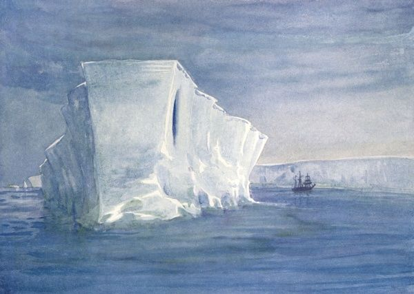 Iceberg seen from Shackleton's ship 'Nimrod' in the Antarctic, and nicknamed the 'Dreadnought'. Date: circa 1907