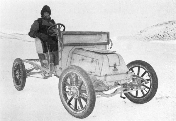 Day with the motor car on the sea ice : ordinary wheels with rubber tyres were found to be the most satisfactory. Date: circa 1907