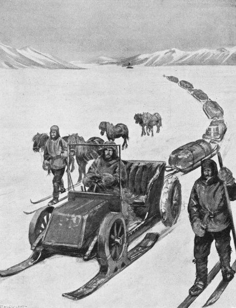 The motorised sledge which he plans to use instead of the huskies and ponies used by earlier expeditions... Date: 1907