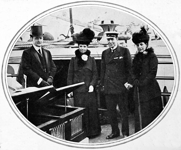 Photograph of Sir Ernest Shackleton (second from right) with Queen Alexandra (right) and the Dowager Empress of Russia (second from left) on their visit to the 'Endurance' prior to his Antarctic expedition in 1914