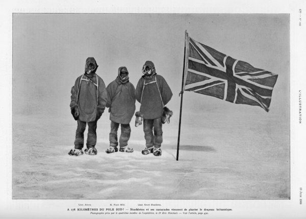 Ernest Shackleton's expedition reached within 100 miles of the South Pole. Shackleton, Wild and Adams 178 kilometres from the South Pole