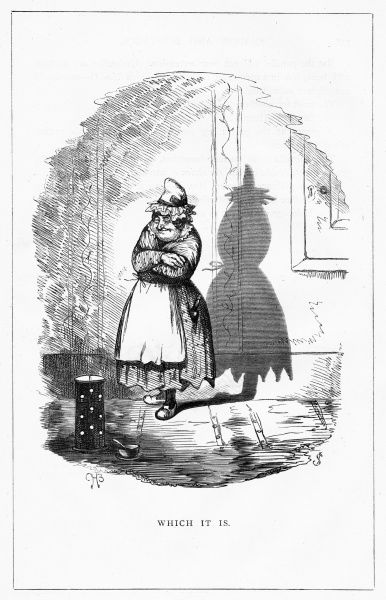 'Which is it'. The shadow cast of this lady is in the semblance of an umbrella, tied at the middle. Illustration from a series of shadow portraits of fictional characters by Charles H Bennett entitled Shadow and Substance, 1860