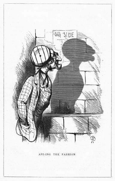 'Ape-ing the Fashion'. A fashionable man strolls, casting an unfortunate ape-like shadow. Illustration from a series of shadow portraits of fictional characters by Charles H Bennett entitled Shadow and Substance, 1860