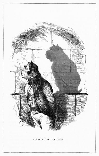 'A Ferocious Customer'. (The Late Mr. Bruiser) Casting the shadow of a bulldog on the wall. Illustration from a series of shadow portraits of fictional characters by Charles H Bennett entitled Shadow and Substance, 1860