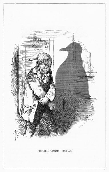 'Foolish Tommy Pigeon'. Illustration from a series of shadow portraits of fictional characters by Charles H Bennett entitled Shadow and Substance, 1860
