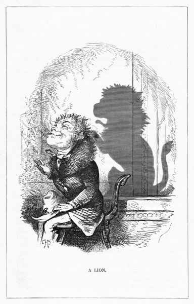 'A Lion'. (Claude Mayne Tawney Esq.) Seated and casting the perfect shadow of lion, complete with tail. Illustration from a series of shadow portraits of fictional characters by Charles H Bennett entitled Shadow and Substance, 1860