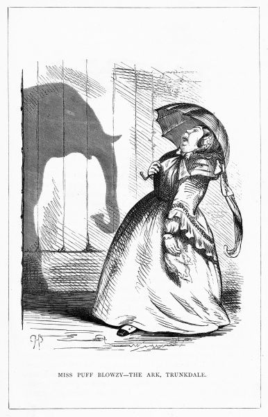 'Miss Puff Blowzy - The Ark, Trunkdale'. Parasol in hand and casting the shadow of an elephant on the wall. Illustration from a series of shadow portraits of fictional characters by Charles H Bennett entitled Shadow and Substance, 1860