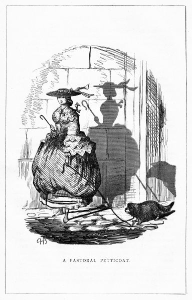 'A Pastoral Petticoat'. A lady walks her dog but her shadow tells another story. Illustration from a series of shadow portraits of fictional characters by Charles H Bennett entitled Shadow and Substance, 1860