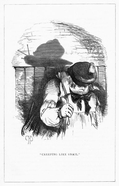 'Creeping like a Snail'. Illustration from a series of shadow portraits of fictional characters by Charles H Bennett entitled Shadow and Substance, 1860