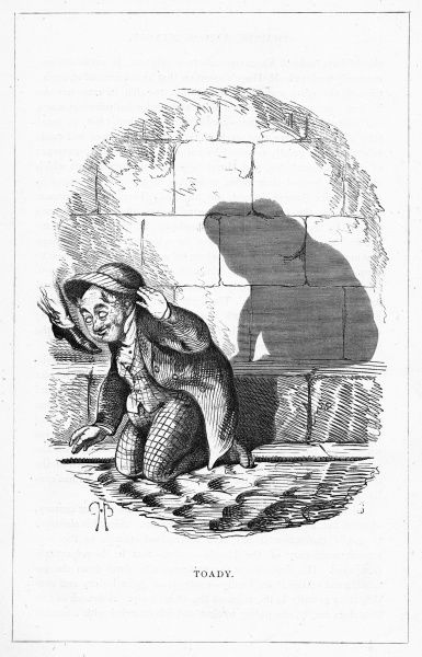'Toady' (The Right Hon. Lickfoot Snayle MP) Kneeling on the ground and casting the shadow of a toad. Illustration from a series of shadow portraits of fictional characters by Charles H Bennett entitled Shadow and Substance, 1860
