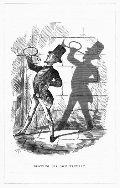 'Blowing his own trumpet'. Illustration from a series of shadow portraits of fictional characters by Charles H Bennett entitled Shadow and Substance, 1860