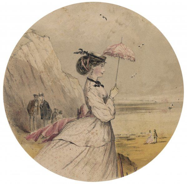 A pretty, unchaperoned lady takes the air, ensuring her complexion doesn't suffer by employing a small parasol. Alas She has caught the attention of two dubious males