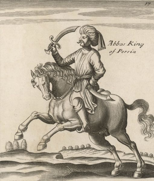 SHAH ABBAS on horseback and wielding a sword