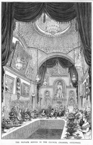 The Shah of Persia is entertained at the Guildhall - private supper in the Council Chamber