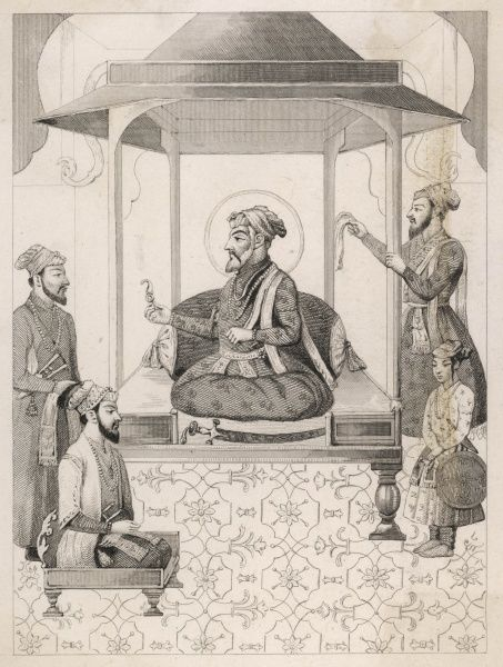 SHAH JAHAN I depicted offering a seat to Dara Shikoh