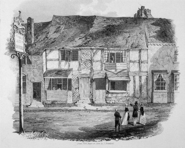 WILLIAM SHAKESPEARE The house in Stratford-upon- Avon in which Shakespeare was born, seen in around 1840