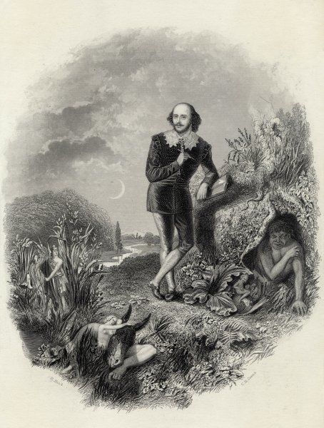 WILLIAM SHAKESPEARE English dramatist and poet shown in a rural setting with some of the characters from his plays