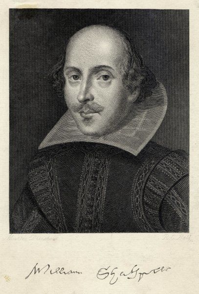 WILLIAM SHAKESPEARE English playwright and poet. Rectangular portrait with signature