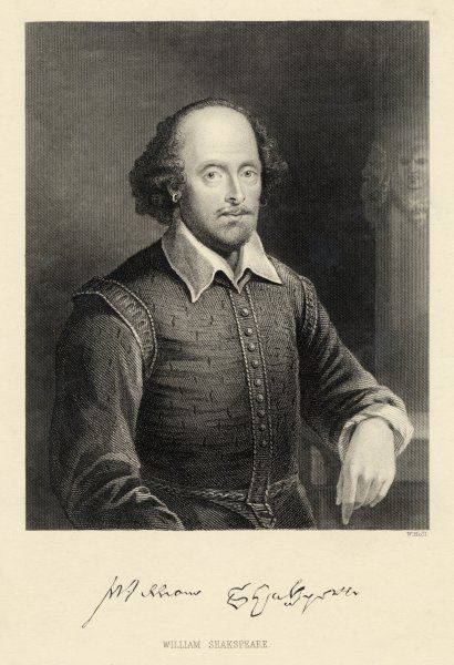 WILLIAM SHAKESPEARE Playwright and poet. Rectangular portrait with signature