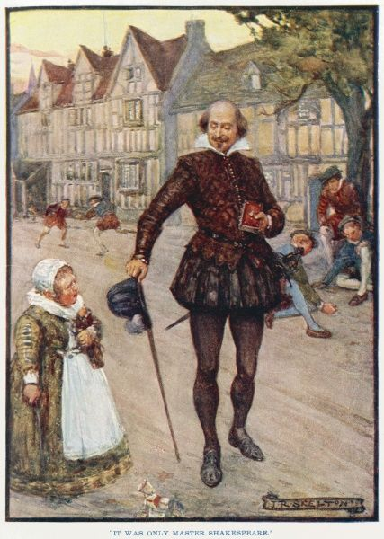 'It was only Master Shakespeare.' William Shakespeare strolls among children playing in an Elizabethan London street