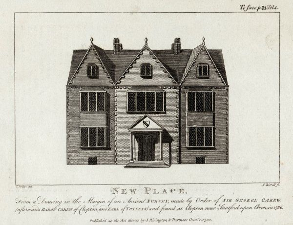 WILLIAM SHAKESPEARE His home at New Place, Stratford-upon-Avon, from a drawing found in 1786