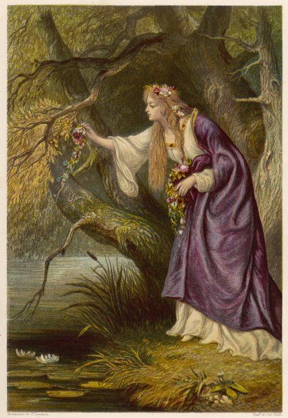 Act IV, Scene I Ophelia gathers flowers by the stream