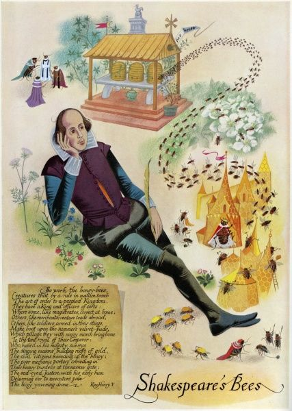 William Shakespeare, lost in thought, and inspired by a swarm of honey bees as he writes Henry V